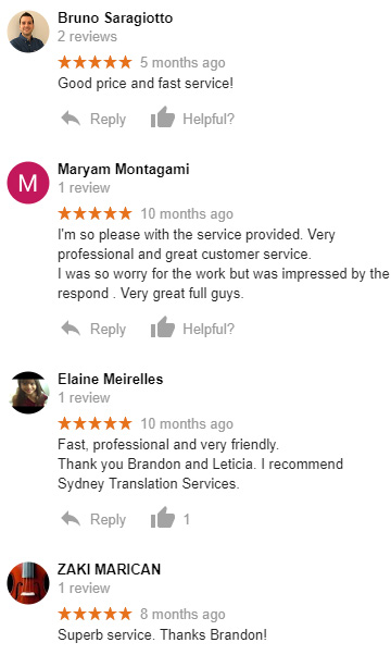 Sydney translator service reviews